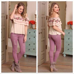 ✨LAST✨Lilac distressed skinny jeans
